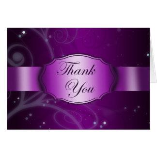 Tarjeta Florales púrpuras elegantes le agradecen cardar