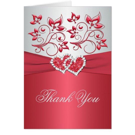 Tarjeta Florales rosados y grises coralinos le agradecen