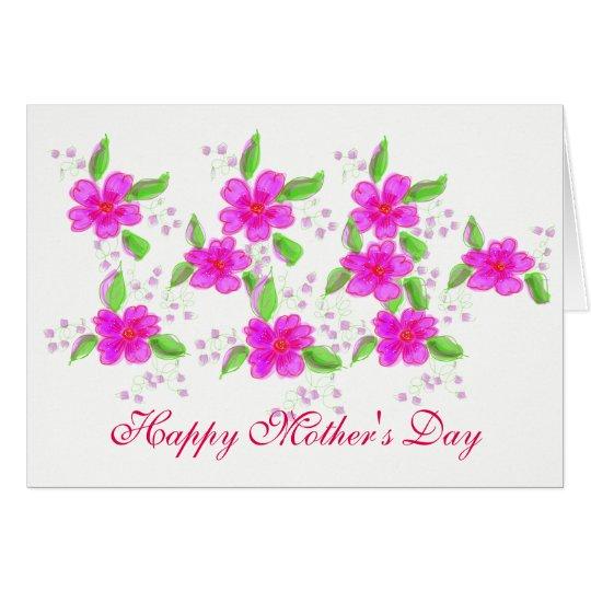 Tarjeta florecida rosada bonita del día de madres