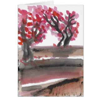 Tarjeta floreciente de los cerezos de la primavera