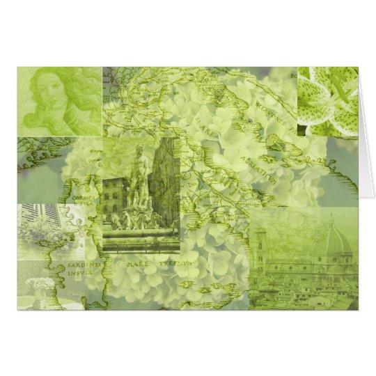 Tarjeta Florencia, Italia, collage de la imagen, verde,