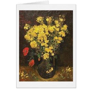 Tarjeta Florero con Viscaria, bella arte de Van Gogh