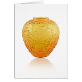 Tarjeta Florero de cristal del art déco anaranjado con