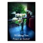 Tarjeta Flores blancas en la tabla azul con su mensaje