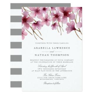 Tarjeta Flores de cerezo de la acuarela que casan la