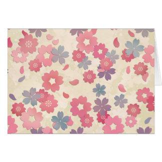 Tarjeta Flores de cerezo en colores pastel de Sakura