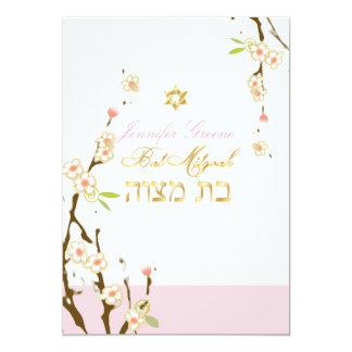 Tarjeta Flores de cerezo rosadas/palo Mitzvah de