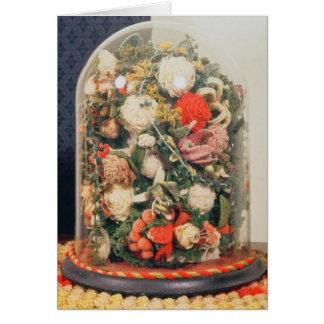 Tarjeta Flores de lana del Victorian en un caso de cristal