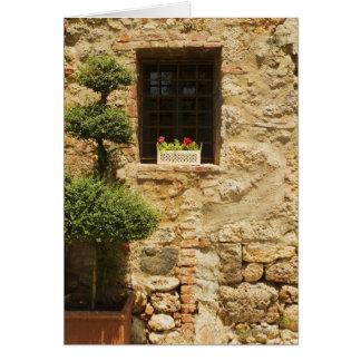Tarjeta Flores en una caja de ventana en un travesaño de