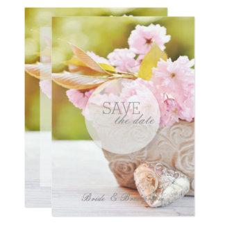 Tarjeta Flores Flor-Rosadas de la cereza que casan reserva