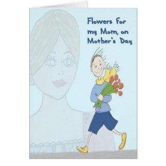 Tarjeta Flores para la mamá el el día de madre del hijo