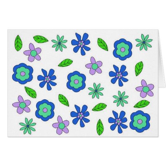Tarjeta Flores retras de los años 70 del vintage azules