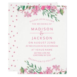 Tarjeta Flores rosados del amor de la acuarela que casan