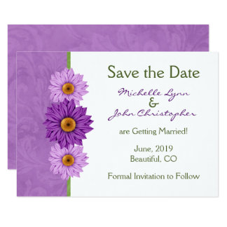 Tarjeta Flores verdes, púrpuras bonitas que casan reserva