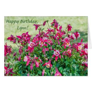 Tarjeta Flores y brotes rosadosy blancos de Columbine