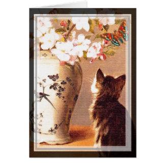 Tarjeta Flores y mariposas orientales