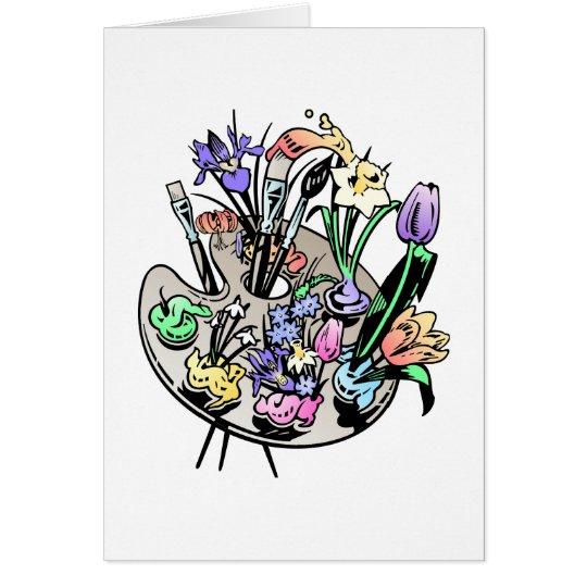Tarjeta Flores y paleta del artista