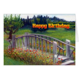 Tarjeta Flores y pasarela - carril del feliz cumpleaños de