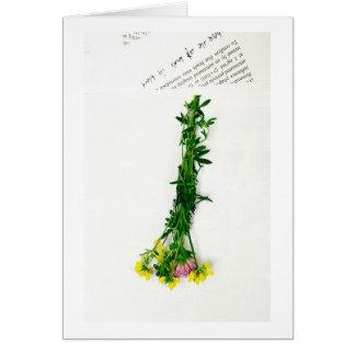 Tarjeta flores y periódico de la primavera
