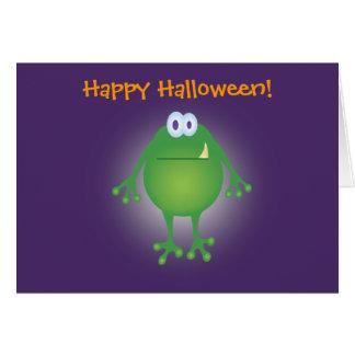 Tarjeta ¡fondo del monstruo w de la rana, feliz Halloween!