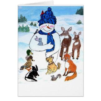 Tarjeta Forma hoyuelos el muñeco de nieve y la charca del