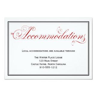 Tarjeta formal roja elaborada de los alojamientos