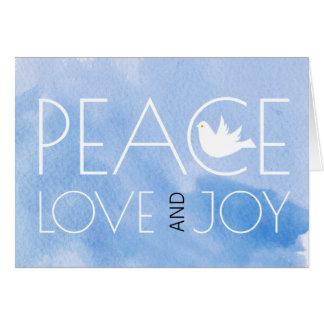 Tarjeta Foto azul del navidad de la acuarela del amor y de