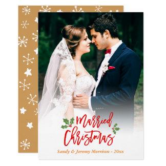 Tarjeta Foto casada del navidad de los recienes casados