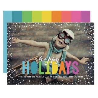 Tarjeta Foto colorida de las nevadas buenas fiestas
