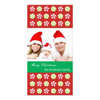 Tarjeta Foto de familia con los caramelos del navidad