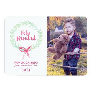 Tarjeta Foto de Feliz Navidad de la guirnalda de la