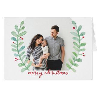 Tarjeta Foto de las Felices Navidad de la guirnalda del
