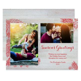 Tarjeta Foto de madera del navidad dos de los tablones del