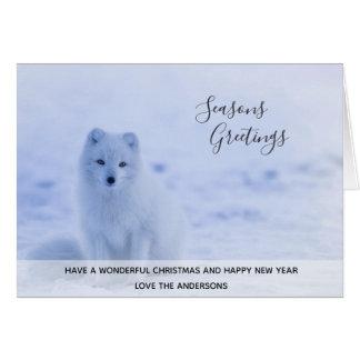 Tarjeta Foto de Navidad de la nieve del invierno del Fox