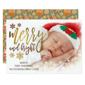 Tarjeta Foto del navidad del bebé de la tipografía el |