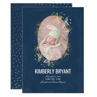Tarjeta Foto elegante floral del nacimiento del bebé de la