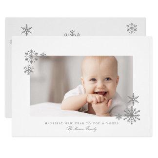 Tarjeta Foto enmarcada del Año Nuevo de los copos de nieve