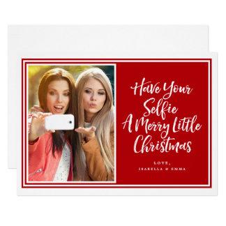 Tarjeta Foto enmarcada rojo del día de fiesta de Selfie