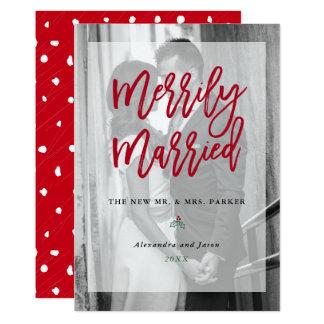 Tarjeta Foto feliz casada con rojo de la capa el |