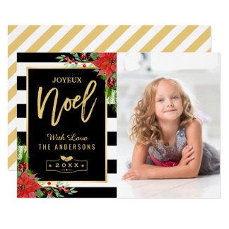 Tarjeta Foto floral de oro de las Felices Navidad de