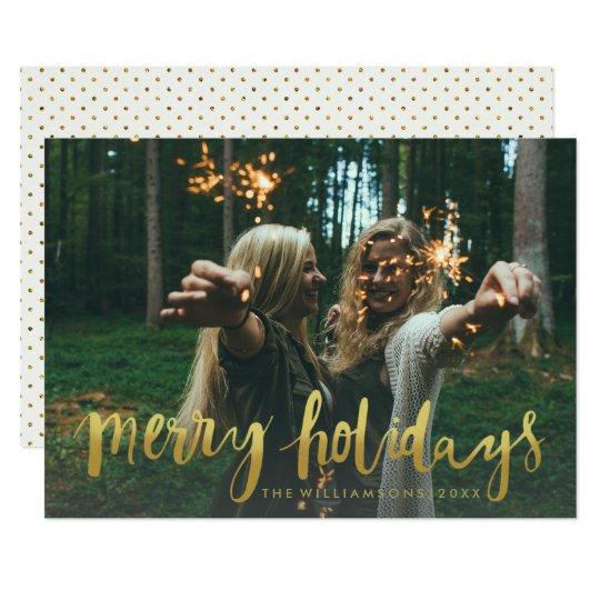Tarjeta Foto moderna del navidad de los felices días de