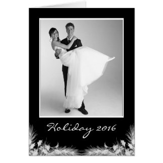 Tarjeta Foto negra elegante del día de fiesta de Navidad