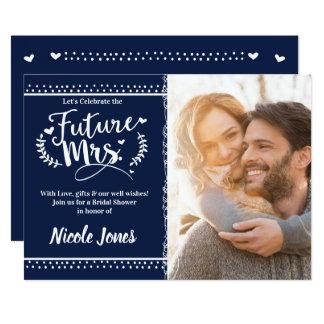Tarjeta Foto nupcial azul y blanca de la señora FUTURA de