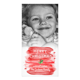 Tarjeta Foto roja Painterly del acebo del navidad de la