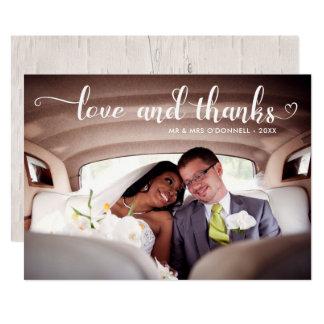 Tarjeta Foto romántica del boda del amor y de las gracias