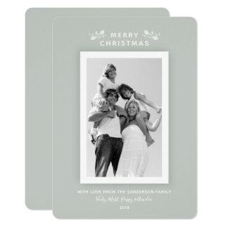 Tarjeta Foto verde gris mínima moderna de lujo del navidad