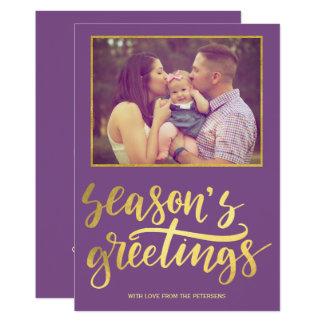 Tarjeta Foto violeta púrpura de la escritura del oro de