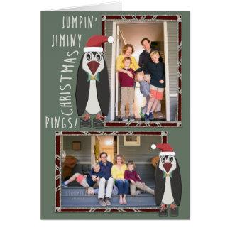 Tarjeta Fotos de salto del navidad de Jiminy -