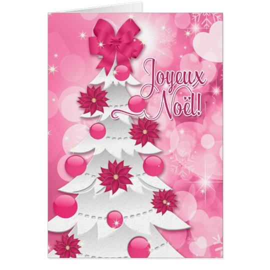 Tarjeta Francés Joyeux Noël - navidad rosado del