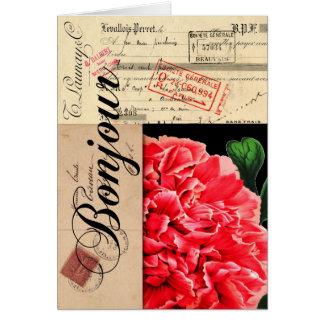 Tarjeta francesa de Bonjour del Peony